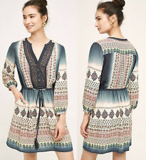 ANTHROPOLOGIE Floreat NWT Perrie Lace Dress Peasant Grey Blue Sz 4 Small $158