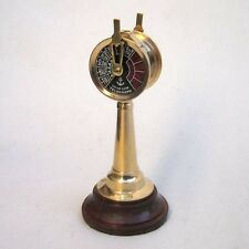 """6 1/2"""" NAUTICAL BRASS ENGINE ORDER TELEGRAPH ON WOODEN STAND"""