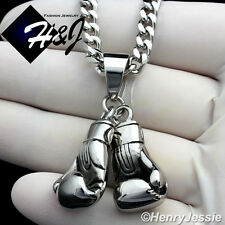 "24""MEN Stainless Steel 4.5mm Silver Cuban Curb Necklace Boxing Glove Pendant*P87"