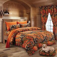 12 PC WOODS ORANGE CAMO COMFORTER AND SHEET SET QUEEN SIZE! CAMOUFLAGE! CURTAINS
