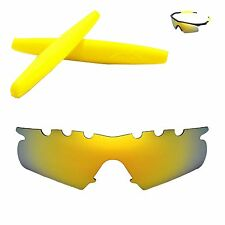 Polarized 24K Gold Vented Replacement+Yellow Earsocks For Oakley M Frame Hybrid