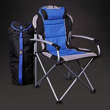 ProMech Racing Fold-Up Camping Garden Paddock Chair with Carry Bag -Riptide Blue