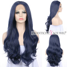 Long DARK BLUE LACE FRONT WIGS Synthetic Hair Heat Safe Glueless Wig For Women