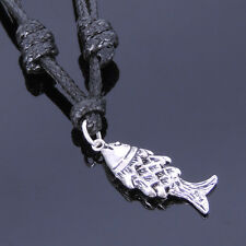 Mens Women Sterling Silver Necklace 925 Fish Adjustable Wax Rope DIY-KAREN 011
