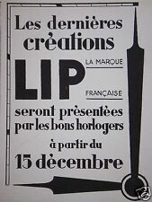 PUBLICITÉ 1933 LES DERNIÈRE CRÉATIONS MONTRES LIP MARQUE FRANÇAISE - ADVERTISING