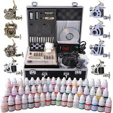 Complete Tattoo Kit 54 Color Ink 8 Machine Guns 50 Needle Set LCD Power Supply