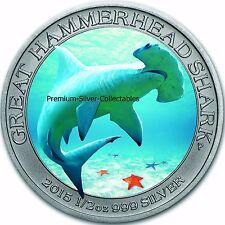2015 Australia Shark Series Hammerhead #2 of 3 , 1/2 Ounce Pure .999 Silver Coin