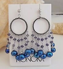 Honora STERLING SILVER BRIGHT INDIGO PEARL AND FACETED IOLITE DROP EARRINGS NEW