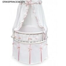 Round Baby Bassinet Cradle Crib Bedding Set White Pink Ruffles NEW Badger Basket