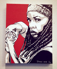MICHONNE THE WALKING DEAD DANAI GURIRA ORIGINAL CANVAS PRINT READY TO HANG!!!