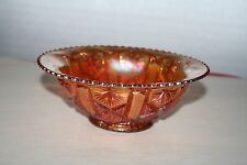 Amber Carnival Glass Bowl Sawtooth Edge 7-1/4""