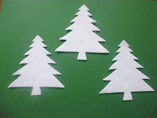 FELT WHITE CHRISTMAS TREES SEWING APPLIQUE CARD MAKING X 12