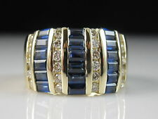EFFY 14K Blue Sapphire Diamond Ring Wide Band Channel Set Baguette Size 6.5