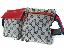 Authentic Gucci GG Pattern Canvas Leather Navy Blue Waist Belt Bag GW13230L