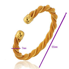 9K Real Gold Filled Womens Twisted 7mm Thick Mesh Cuff Bangle Bracelet Jewelry