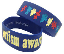 "Autism Awareness THICK 1"" Puzzle Pieces Wristband ADULT Silicone Bracelet WIDE"