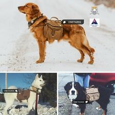 Canvas Dog Pack Hound Travel Camping Hiking Backpack Saddle Bag Rucksack Med Lar