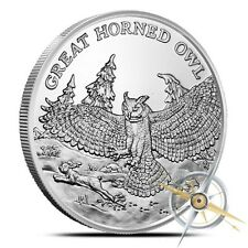 American Wildlife Series   Great Horned Owl   1 oz .999 Silver BU Round USA Coin