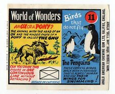 Anglo Wax Wrapper World of Wonders #11 Penguin Gnu