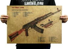 Vintage Gun AK47 Style Poster Improved Structure Chart Kraft Posters 51CM