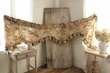 Antique French printed linen VALANCE ruffle  design c1890 teal pink fabric