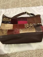 Coach Patchwork Holiday Tote Shoulder Handbag Brown Leather