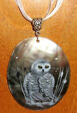 Russian UNIQUE hand painted White SNOWY OWL BIRD pendant Black Lip SHELL signed