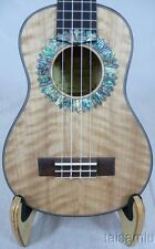 Alulu Solid curl maple concert Ukulele, abalone inlay sun flower pattern UPC99
