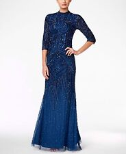 adrianna papell mock turtleneck beaded gown, deep blue RRP £280 UK 10