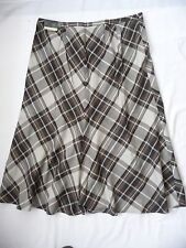 "Lane Bryant NWT Skirt 16 Plaid A-LIne Paneled 34"" Long Brown Tone Elegant Office"