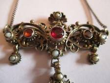 Beautiful Vintage Austro Hungarian Necklace stone set Silver Victorian Deco