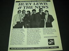 HUEY LEWIS And The News WESTWOOD ONE PRESENTS... 1984 PROMO POSTER AD mint cond