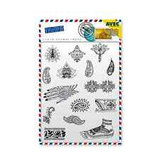 India Theme Clear Rubber Stamps Henna Paisley Ornate & Clear Acrylic Block 15pcs