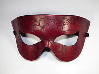 Red Swirls Simple Pointed Leather Handmade Mask Venetian Masquerade