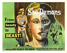 Framed Retro Movie Poster – She Demon 1958 (Replica Print Horror Cinema Film)