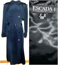ESCADA by Margaretha Ley Black Belted Trench Rain Coat Full Length Size EU 40
