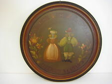 Antique Hand Painted Wedding Anniversary on Tin Platter, Carna & Clayton 1938