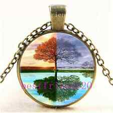 Vintage Seasons Tree Of Life Cabochon Glass Bronze Chain Pendant Necklace#6666