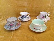 Vintage lot of (4) tea cups and saucers Lefton, Bone China, Rosina