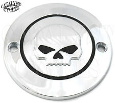 Chrome Ignition Timing Cover with Willie G Skull Points Cover for Harley