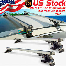 "2 x 48"" Car Top Luggage Cross Bar Roof Rack Carrier Skidproof 3 Clamps"