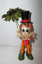 Vintage Mexican Folk Art DE SELA Paper Mache CLOWN Christmas Ornament UMBRELLA
