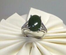 Brand New Sterling Silver 14mm x 10mm Oval Nephrite Jade Ladies Ring