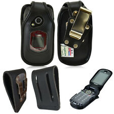Rugged Heavy Duty Fitted Genuine Leather Case, Steel Clips for Kyocera Dura XA