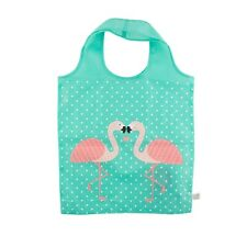New Tropical Pink Flamingo Green Foldable Shopping Tote Bag by Sass and Belle