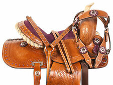 10 12 13 PURPLE WESTERN COWGIRL LEATHER TRAIL HORSE PONY YOUTH SADDLE TACK