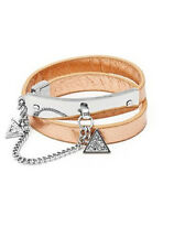 NWT GUESS Rose Gold & Silver tone Rhinestone Charm wrap Bracelet