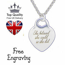 Personalised Love Heart Pendant Name Engraved Necklace White Gold Plated Gift UK