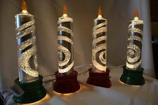 Clear Swirling Glitter Gel electric Candle Lamp w red & green base Set of 4 NEW