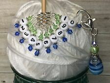 1-10 Numbered Stitch Markers & Beaded Holder- Row Counter Markers Blue & Green